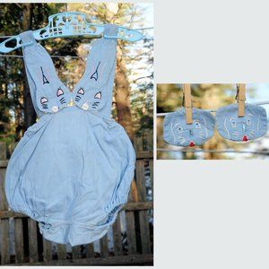 VTG 50s Embroidered Blue Bunny Short Romper Set